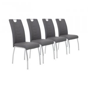Set de 4 scaune Hedgepeth, argintii/ gri, 100 x 43 x 64 cm