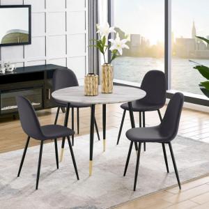 Set de 4 scaune Monza Eadwine, gri inchis, 44 x 52 x 87cm