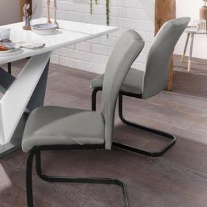 Set de 4 scaune pentru living, negru/gri