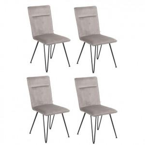 Set de 4 scaune tapițate Elice, gri