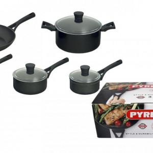 Set de 5 cratite de aluminiu Pyrex Onyx , negru