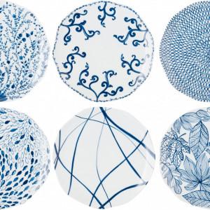 Set de 5 farfurii plate, albe/albastre, 27 cm