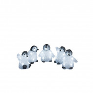 Set de 5 pinguini decorativi cu LED, 12 x 12 cm