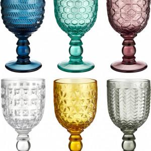 Set de 6 pahare de vin, sticla, multicolore