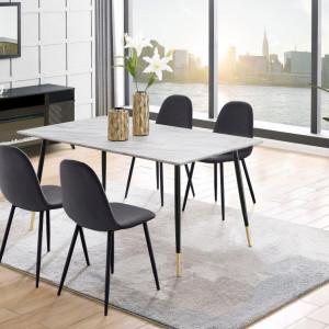 Set de living Monza Eadwine masa + 4 scaune, MDF, antracit/negru, 160x90x76 cm