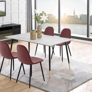 Set de living Monza Eadwine masa + 4 scaune, MDF, roz/marmura, 160x90x76 cm