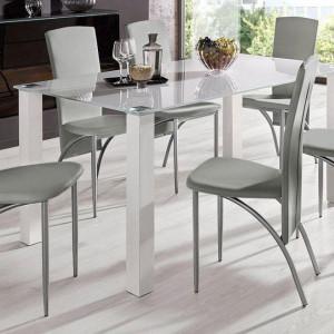 Set de living Norma/Nicole 4 scaune piele sintetica + 1 masa cu blat de sticla, gri, 160 x 80 x 76 cm
