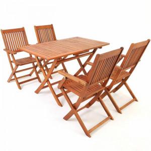 Set de masa si 4 scaune de gradina Aragon, lemn de salcam