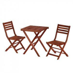 Set pentru balcon masa si 2 scaune din lemn masiv MIMO