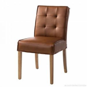 Set Wiluna de 2 scaune cu picioare din lemn masiv si piele naturala