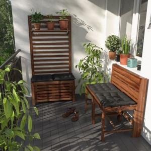 Suport Mimo lemn masiv de salcam, maro, 80 x 160 x 2 cm
