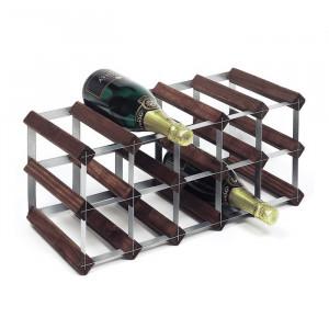 Suport pentru 15 sticle de vin Barringer, lemn masiv/metal, 23 x 53 x 23 cm