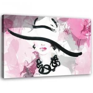 "Tablou ""Woman Pink Abstraction"", roz/negru, 80 x 120 cm"