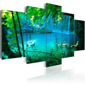 Tablou 'Turquoise Seclusion', panza, verde/albastru, 50 x 100 x 1,4 cm