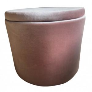 Taburet Arianna, lemn masiv/ burete/ catifea, roz pudra, 40 x 54 cm