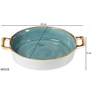 Tava de copt Arregui, ceramica, albastra, 4 x 22 x 16 cm