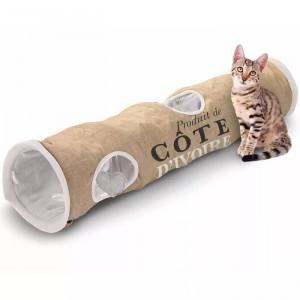 Tunel pentru pisici Celeste, maro/alb, 25 x 120 x 25 cm