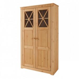 Vitrina Clarissa lemn masiv de pin, maro, 90 x 35 x 160 cm