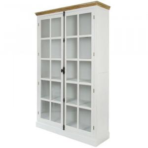 Vitrina Florence, lemn masiv, alb, 222 x 136 x 43 cm