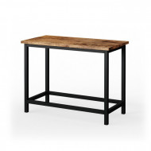 Banca Fyrk, lemn/ metal, maro/ negru, 45 x 60 x 30 cm