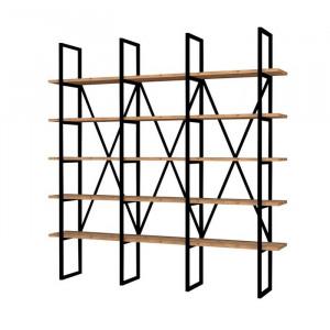 Bibliotecă Joppatowne, metal, negru/maro, 160 x 160 x 26 cm