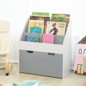 Biblioteca pentru copii Windover, lemn, alba/gri, 70 x 63 x 30 cm
