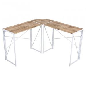 Birou in forma de L Chrisley, 75 x 38 x 119.5 cm, lemn/ metal - stejar/ alb