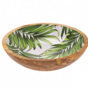 Bol Karll din lemn de mango, model frunze, 24 cm diametru
