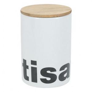 Borcan pentru ceai cu capac din lemn de bambus