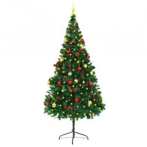 Brad de Craciun, verde, cu 300 de lumini albe calde, 210 x 105 x 105 cm