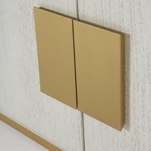 Bufet Shellman din lemn masiv, alb / auriu, 78cm H x 201cm W x 43cm D