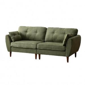Canapea Abrielle cu 3 locuri, lemn masiv și piele de căprioară, verde, 86cm H x 205cm W x 85cm D