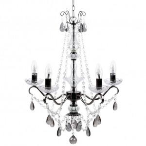 Candelabru Tieda cu 5 lumini din cristal, negru / transparent