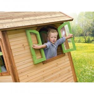 Căsuță de joacă Cullen din lemn masiv, 167cm H x 118cm W x 120cm D