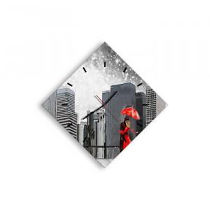 Ceas de perete Wincott, rosu/gri, 71 x 71 x 0,4 cm