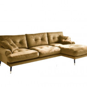 Coltar Tomlin, catifea, galben, 88 x 285 x 155 cm
