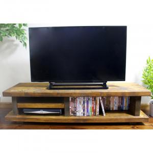 "Comodă 50 "" TV Denver din lemn masiv de pin, maro, 140cm L x 33cm H x 40cm D"