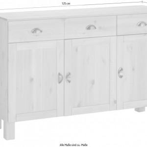Comoda mare Oslo lemn masiv de pin/metal, alb/maro, 125 x 38 x 85 cm