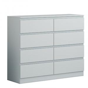 Comodă Monge cu 8 sertare, gri mat, 99cm H x 120cm W x 40cm D