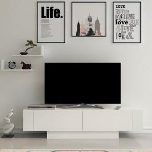 Comoda TV Amariona, MDF, alba, 150 x 41,6 x 29,5 cm