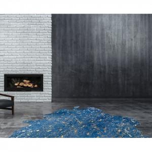Covor din piele Glam 410, 135 x 165 cm, albastru/auriu