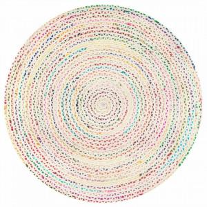 Covor împletit manual Christie, bumbac, rotund, d 183 cm