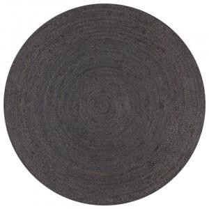 Covor realizat manual, iuta, gri, 120 cm