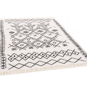 Covor Zara, bumbac/poliester, alb/negru, 80 x 150 cm