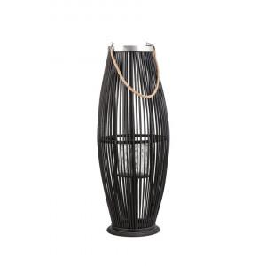 Felinar TAHITI, lemn, negru, 27 x 27 x 72 cm