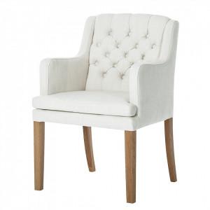 Fotoliu Austin tesatura/stejar, alb, 60 x 87 x 67 cm