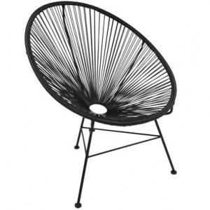 Fotoliu Bahia din metal, negru, 88 x 81 cm