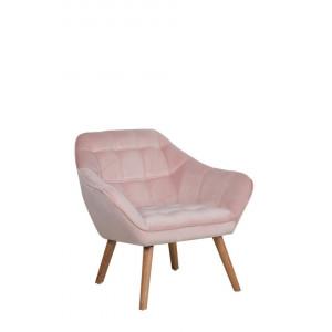 Fotoliu Karis, catifea, roz, 85 x 74 x 76 cm