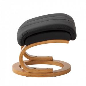 Fotoliu recliner Vancouver cu taburet, piele sintetica, neagra