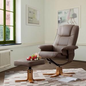 Fotoliu relaxant Cosimo din piele naturala cu suport pentru picioare